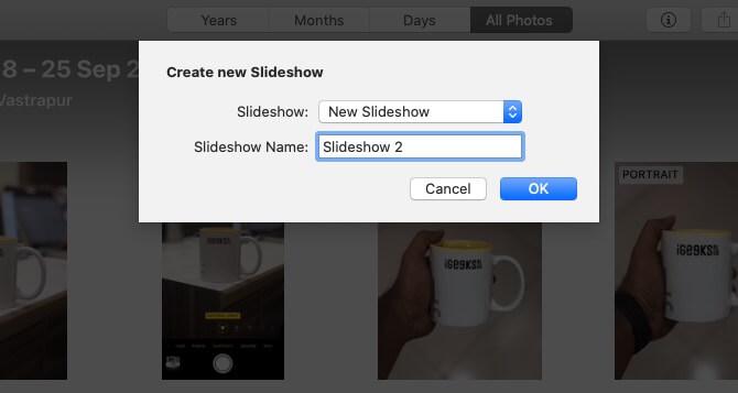 Дайте название слайд-шоу и нажмите OK в приложении «Фото» на Mac.