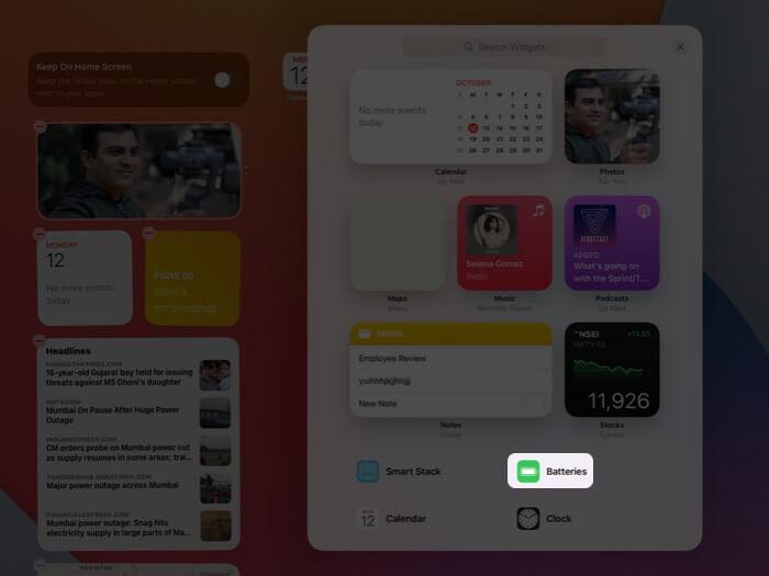 Tippen Sie in Widgets auf dem iPad auf Batterien