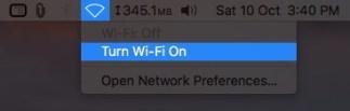 Включите Wi-Fi в верхней строке меню на Mac