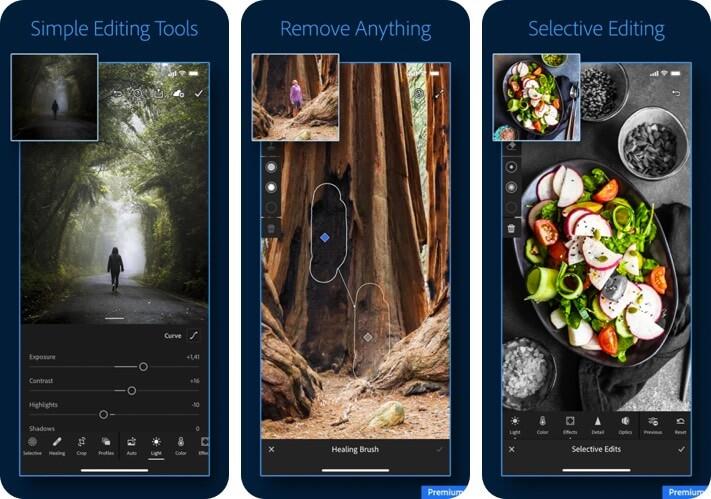 Adobe Lightroom RAW для редактирования фотографий Скриншот приложения для iPhone и iPad
