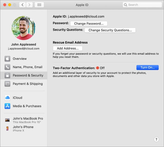 Нажмите Включить двухфакторную аутентификацию для Apple ID на Mac.