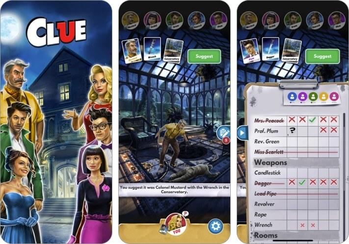 Clue The Classic Mystery Game Скриншот детективного приложения для iPhone и iPad