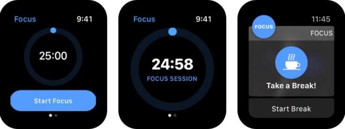 Скриншот приложения Focus Time Management для Apple Watch