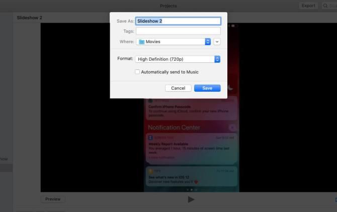 Дайте имя, выберите местоположение и нажмите «Сохранить», чтобы экспортировать слайд-шоу из приложения «Фото» на Mac
