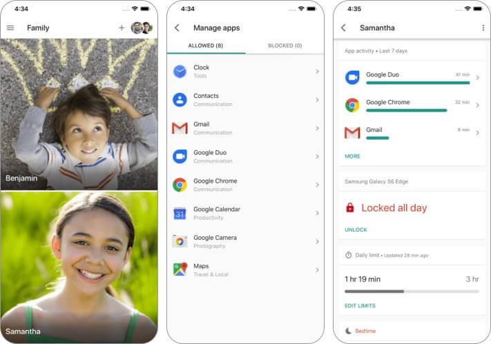 Google Family Link для родителей Скриншот приложения для iPhone и iPad