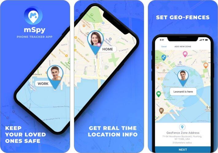 mSpy Tracker Найти семейный телефон iPhone и iPad Скриншот приложения для родительского контроля