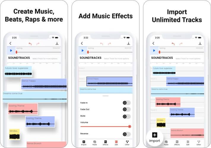 Музыкальный редактор: скриншот приложения Beat Song Maker для iPhone и iPad