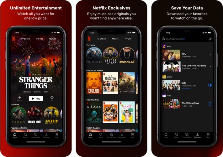 Снимок экрана развлекательного приложения Netflix для iPhone и iPad