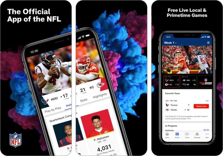 Снимок экрана спортивного приложения НФЛ для iPhone и iPad