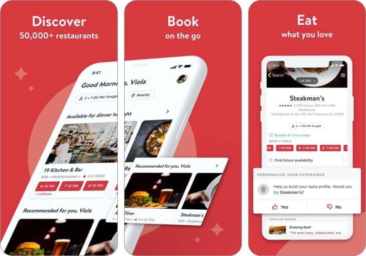 Скриншот приложения OpenTable для iPhone и iPad