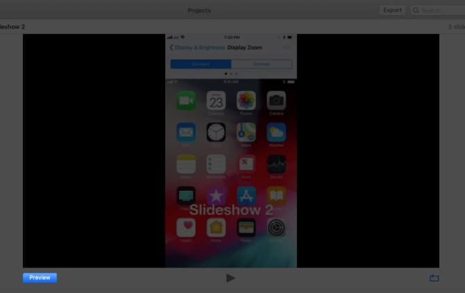 Предварительный просмотр созданного слайд-шоу на Mac