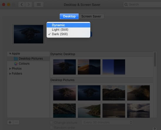 Wählen Sie die Registerkarte Desktop und ändern Sie die Einstellungen auf dem Mac