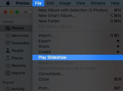 Выберите файл в верхнем меню и нажмите «Воспроизвести слайд-шоу на Mac».