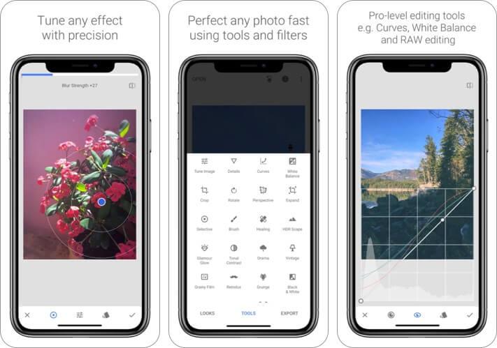 Снимок экрана приложения для редактирования фотографий Snapseed RAW для iPhone и iPad