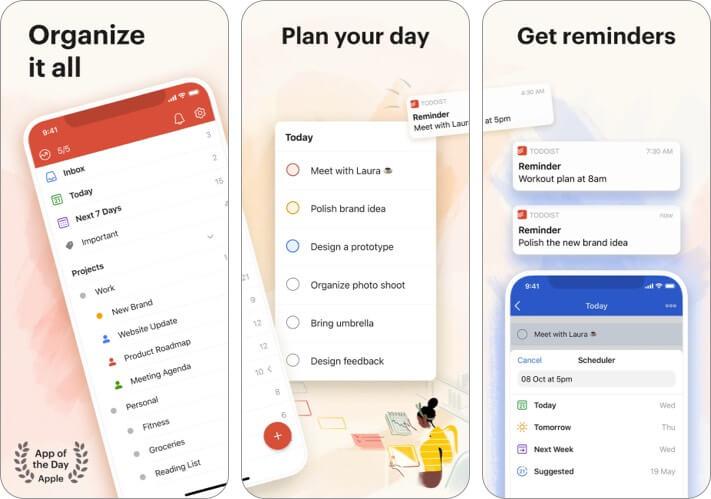 Скриншот приложения Todoist для iPhone и iPad