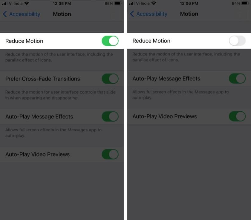 Отключить уменьшение движения на iPhone