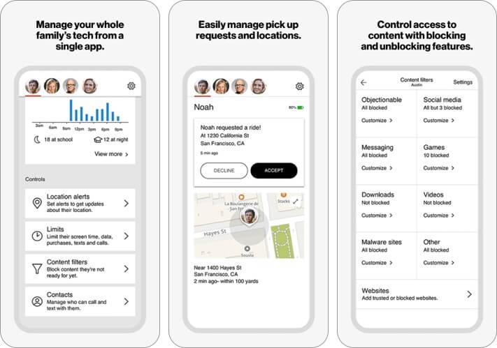 Снимок экрана приложения Verizon Smart Family iPhone и iPad для родительского контроля