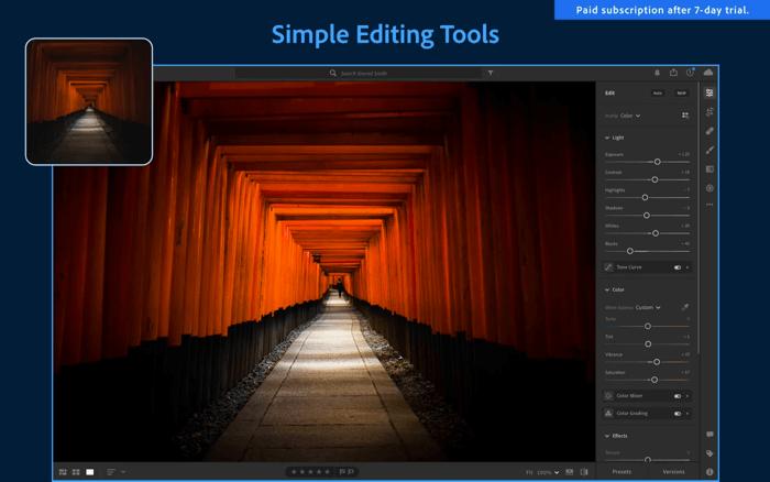 Приложение для редактирования фотографий Adobe Lightroom для Mac Скриншот