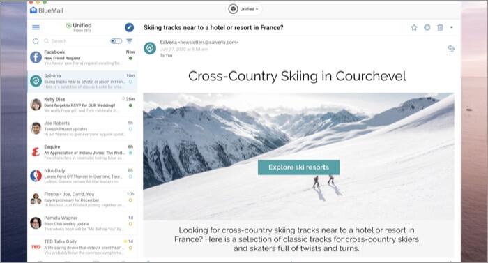 Скриншот приложения BlueMail Email для Mac