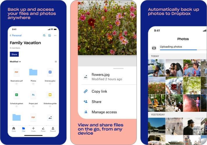 Скриншот приложения Dropbox для iPhone и iPad