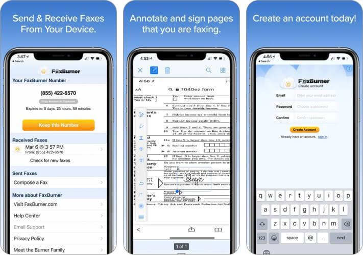 Приложение Fax Burner для iPhone и iPad Скриншот