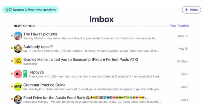 Скриншот приложения HEY Email для Mac