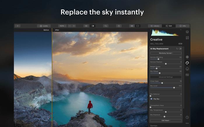 Приложение для редактирования фотографий Luminar для Mac Скриншот