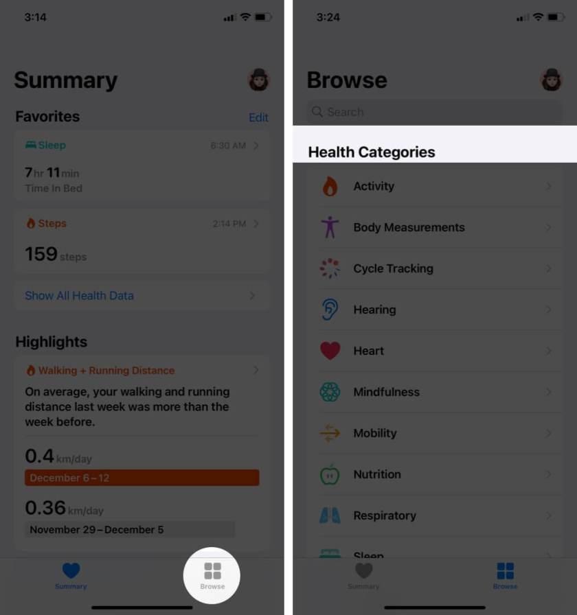 Откройте приложение «Здоровье» и выберите категорию на iPhone.