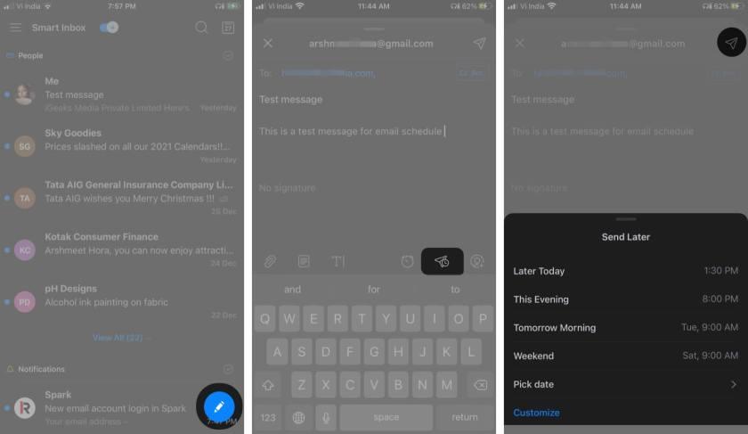 Планирование электронных писем на iPhone и iPad через приложение Spark