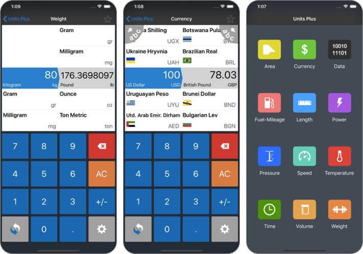 конвертер единиц приложения для iPhone и iPad Скриншот