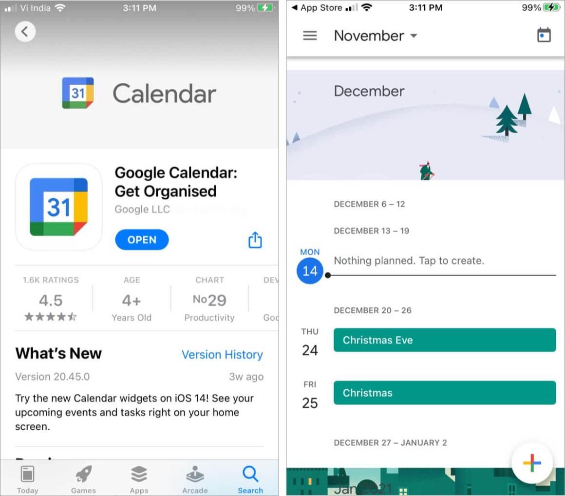 Используйте официальное приложение Google Calendar для iOS