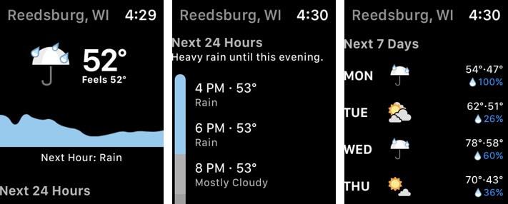 Снимок экрана приложения Apple Watch с погодой в темноте
