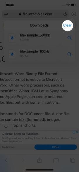 Удалите все файлы сразу в Safari на iPhone