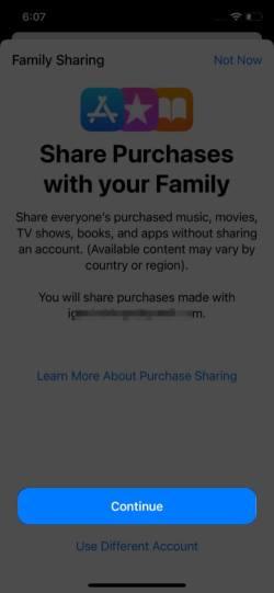 Чтобы включить возможность делиться покупками с семьей, нажмите «Продолжить» на iPhone.
