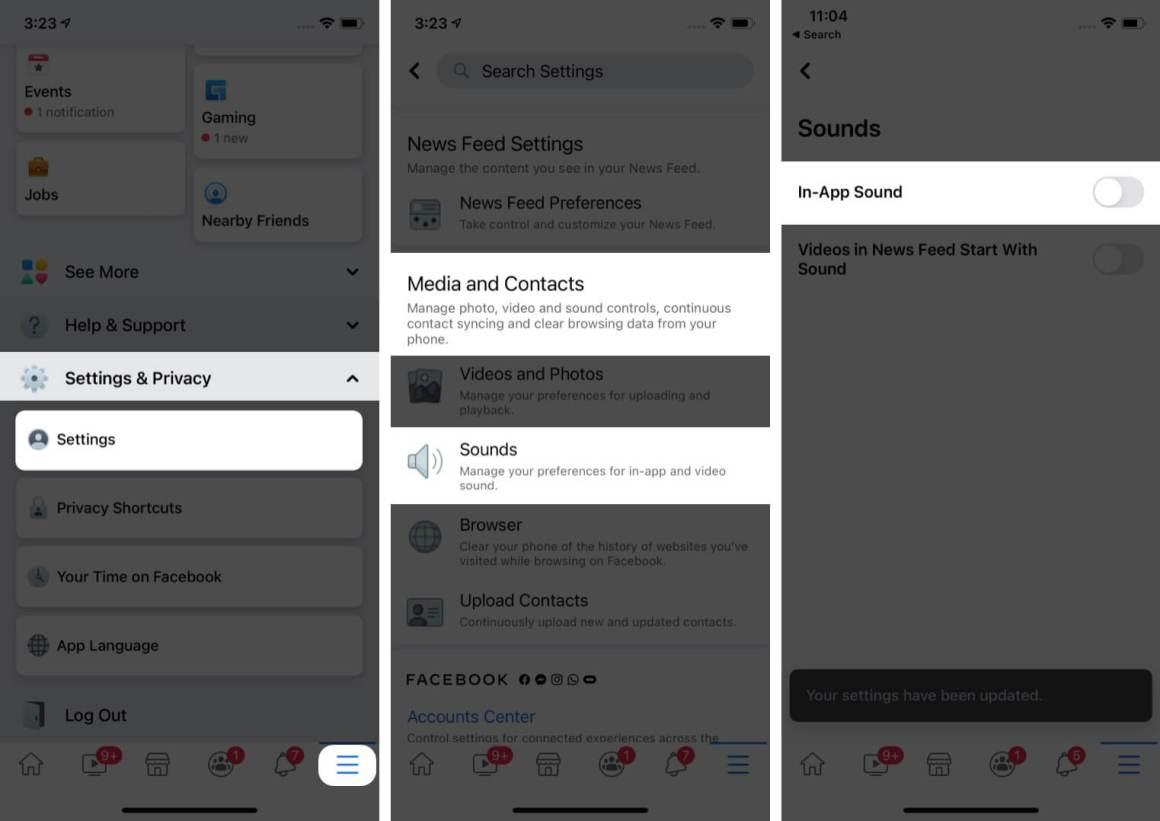Отключите звуковые эффекты Facebook на вашем iPhone и iPad