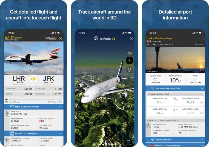 Скриншот приложения Flightradar24 Flight Tracking для iPhone и iPad