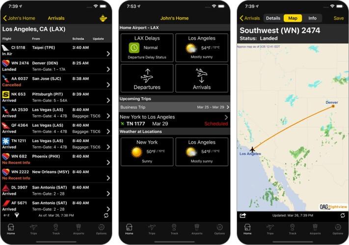 Скриншот приложения FlightView для отслеживания полетов для iPhone и iPad