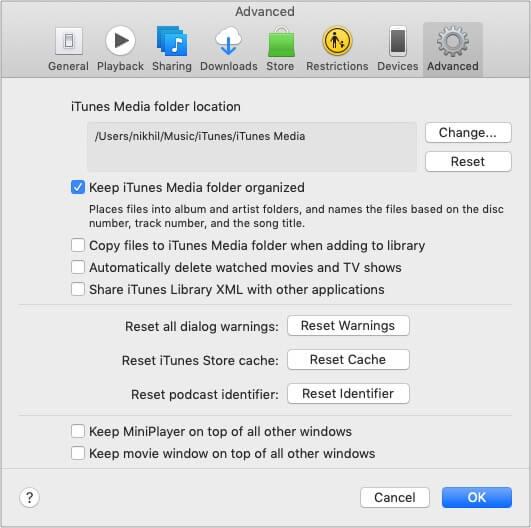 На вкладке «Дополнительно» снимите флажок «Копировать файлы в папку iTunes Media при добавлении в библиотеку».