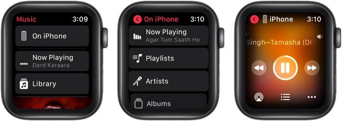 В приложении Apple Watch Music нажмите «На iPhone», затем «Сейчас играет».