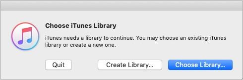 Нажмите и удерживайте клавишу выбора, запустите iTunes и выберите «Создать библиотеку».
