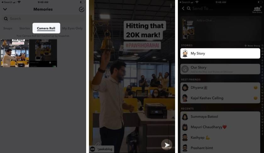 Добавить истории из Instagram в Snapchat на iPhone
