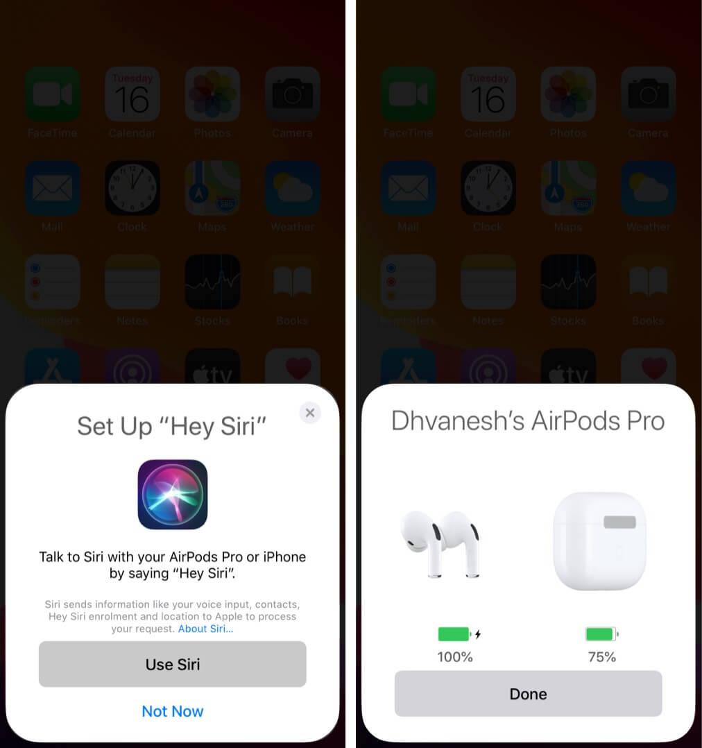 В AirPods Pro или AirPods 2 настройте Siri и нажмите Готово.