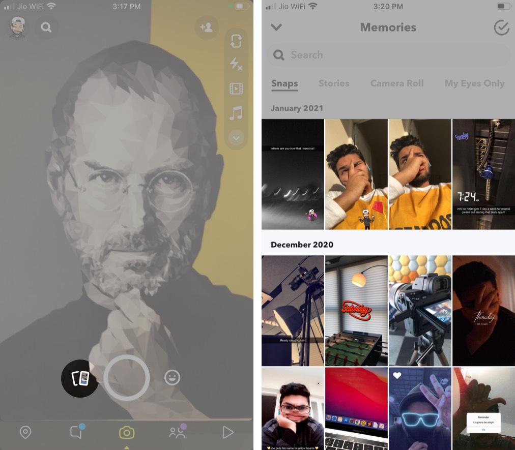 Откройте Snapchat на iPhone и нажмите кнопку «Воспоминания».