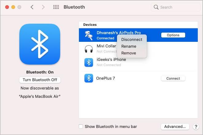 Выберите AirPods в разделе устройств Bluetooth и нажмите удалить на Mac.
