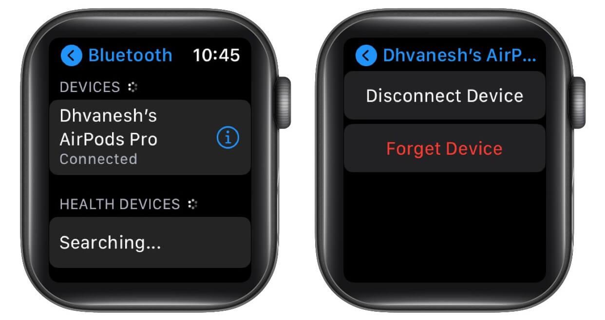 Отмена пары AirPods с Apple Watch