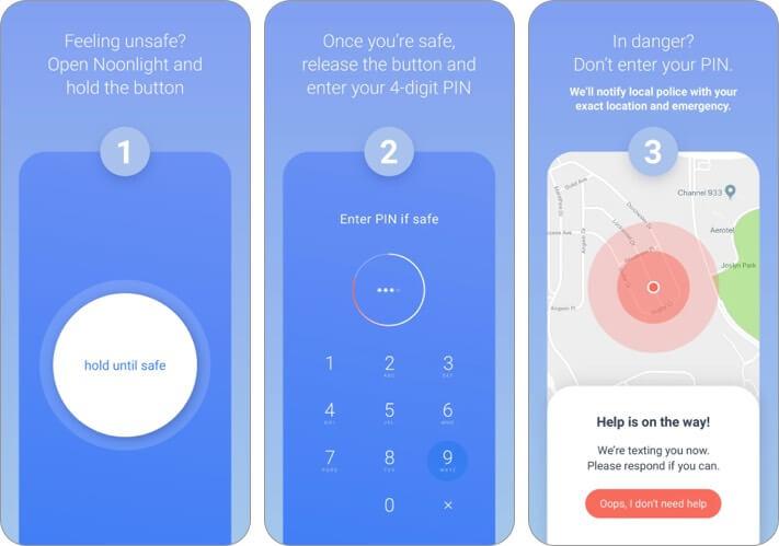 noonlight скриншот приложения для iphone и ipad для женщин