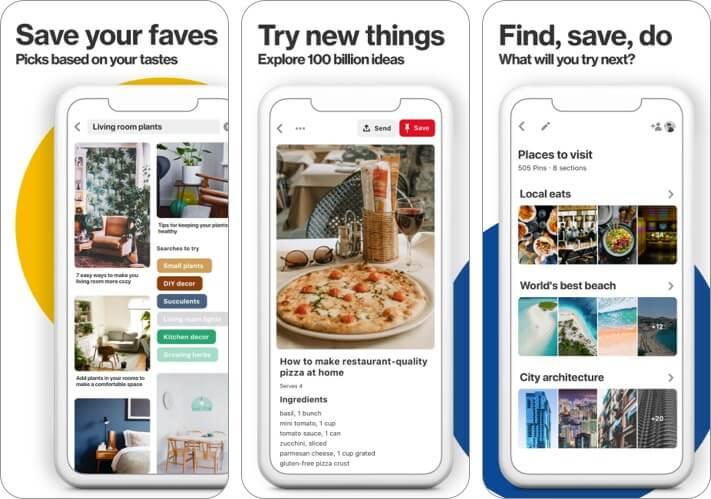 скриншот приложения pinterest iphone и ipad