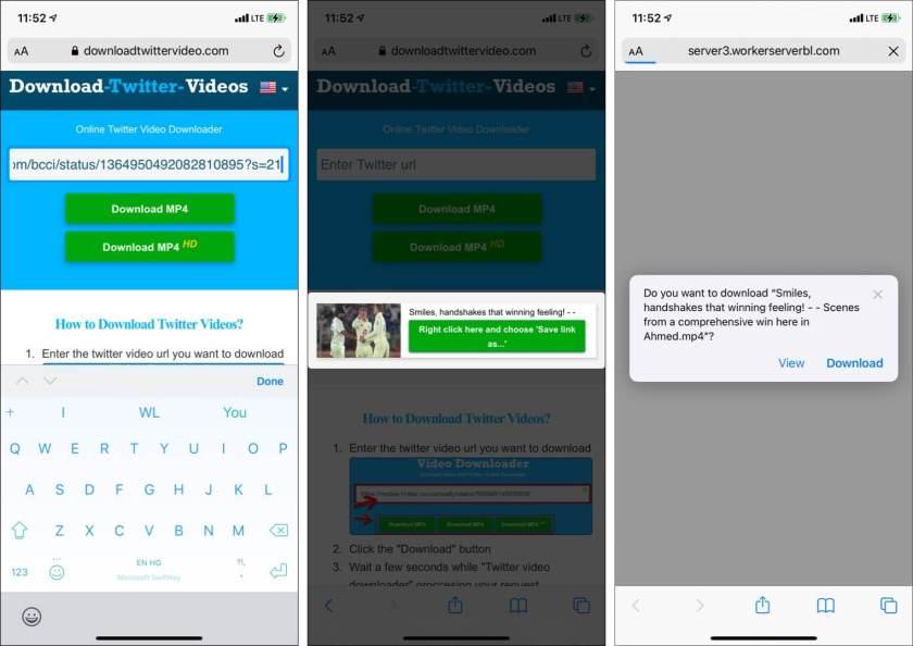 Посетите DownloadTwitterVideo paste link и нажмите Download MP4