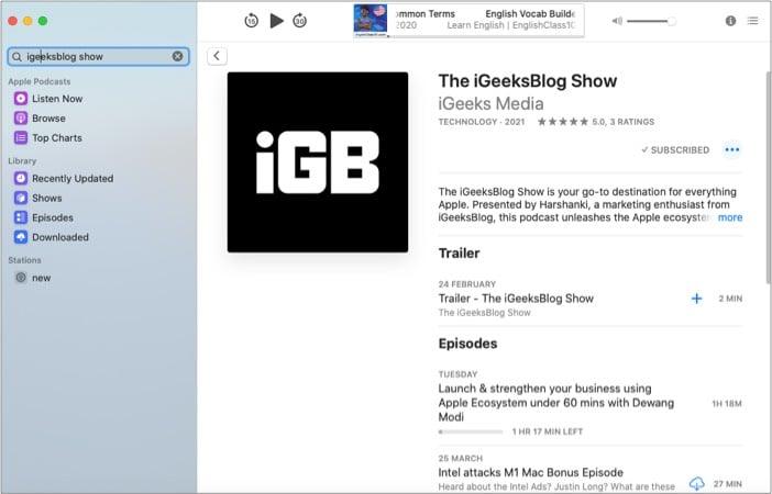 Приложение Apple Podcasts для Mac