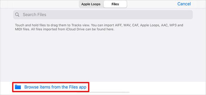 Просмотр элементов из файлового приложения в приложении GarageBand на iPhone